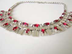 Art Deco Silver and Red rhinestone Egyptian by nanascottagehouse, $95.00