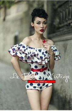 le palais vintage retro ruffle sleeveless polka dot jumpsuit (SIZES: XS, S)  #Handmade #Jumpsuit