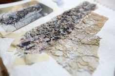Fashion Sketchbook - textile experimentation with textured fabric samples… Textiles Sketchbook, Fashion Design Sketchbook, Textile Design, Textile Art, Growth And Decay, A Level Textiles, Weaving Textiles, Fashion Portfolio, Sketchbook Inspiration