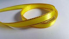 3m Satin Ribbon - Gold-Edged - 10mm - Yellow
