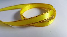 3m Satin Ribbon - Gold-Edged - 10mm - Yellow