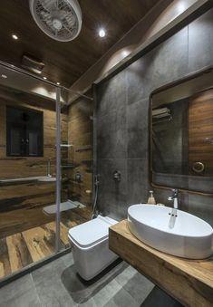 bathroom decoration appartement Retro Style Appartment Interiors-Ankit Vikmani - The Architects Diary Bathroom Design Luxury, Bathroom Layout, Modern Bathroom Design, Small Bathroom, Bathroom Ideas, Bathroom Remodeling, Jacuzzi Bathroom, Washroom Design, Boho Bathroom