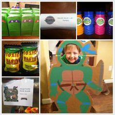 A few goodies for Boys birthday party - TMNT bubbles, photo op, Ninja power pizza and cola gummies, Oreo secret sewer lair portals, toxic waste candy, TMNT character bags!