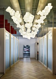 Lamps and Lighting– Home Decor : Noga by Shakúff is custom made with options for glass colors, pendant formations, and size Loft Lighting, Custom Lighting, Lighting Ideas, Wall Lights, Ceiling Lights, Custom Glass, Commercial Lighting, Decorative Objects, Colored Glass