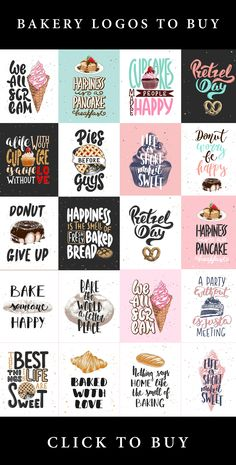 Bakery sketches and lettering by Akimo Mia on Creative Market – Expolore the best and the special ideas about Bakery logo design Hand Lettering Quotes, Lettering Design, Design Letters, Creative Lettering, Printable Stickers, Planner Stickers, Free Printable Quotes, Happy Stickers, Craft Stickers