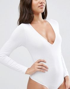 ASOS   ASOS Body With V Neck Long Sleeve And Thong 2 Pack Save 10%