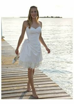Satin Sweetheart Strapless Neckline Beach Wedding Dress