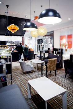 COFFEE-INN interior in OZAS supermarket. design by Dalia Mauricaite, Nauris Kalinauskas