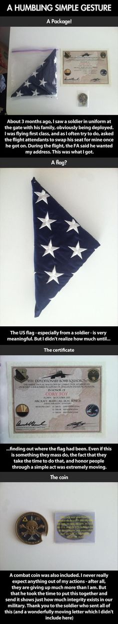 BJ did this for a few special people in our lives. He bought flags, flew them in Afghanistan over the FOB and gave certificates with coins. Not just any civilian gets a coin. It's a huge honor!