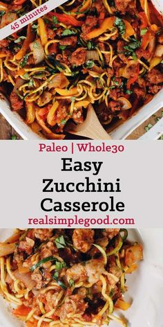 Casserole (Paleo, + Keto) This Paleo and easy zucchini casserole is packed with veggies and a breeze to make! It's filled with Italian sausage, bell peppers and onions! Paleo Menu, Paleo Dinner, Paleo Food, Dinner Menu, Healthy Potato Recipes, Paleo Recipes, Cauliflower Recipes, Dog Recipes, Healthy Zucchini