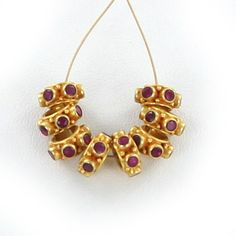 18K GOLD  RUBY STUDDED BEAD 8.5mm 6 STONE 1 PIECE