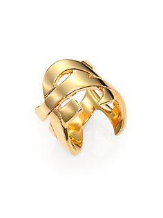 Saint Laurent Monogramme Bague Ring/Goldtone