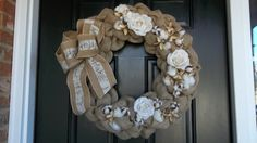 20 Burlap and Raw Cotton Wreath with burlap roses by cindidavis1, $45.00