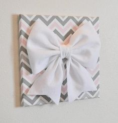 """Large Gray Pink and White Bows on Pink and Gray Chevron 12 x12"""" Canvases"""