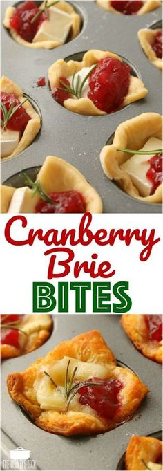 Cranberry Brie Bites recipe from The Country Cook #appetizers #partyfood #Entertaining #nibbles #minibite #snack #cocktailfood #easy #holidays #party
