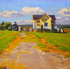 """Yellow House"""" LaConner , oil , landscape painting by Robin Weiss"""