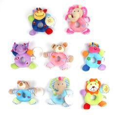 Baby Cute Cartoon Animal Plush Rattles Toy Soft Mobiles Handbells Newborn Toddlers Grasp Training Toys Ring Bell Christmas Gift