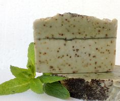 Green Clay and Mint, Facial and Body Exfoliating Cold Process Soap-based on Greek Olive oil