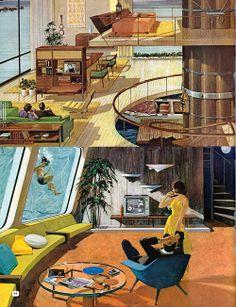 Ideas science ilustration design retro futurism for 2019 Mid Century Art, Mid Century Decor, Mid Century Modern Design, Retro Kunst, Retro Art, Retro Interior Design, Futuristic Home, Science Fiction Art, Googie