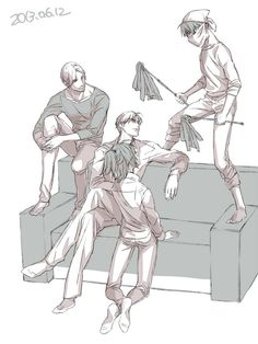 Mike, Erwin, and Hanji chillin while Levi becomes the clean freak