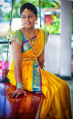 Yolk Yellow and Blue Silk Bridal Saree South Indian Silk Saree, South Indian Wedding Saree, Indian Bridal Sarees, Indian Bridal Wear, South Indian Bride, Saree Wedding, Wedding Bride, Indian Wear, Wedding Scene