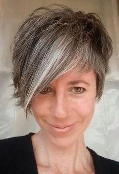 Cute short gray haircut!