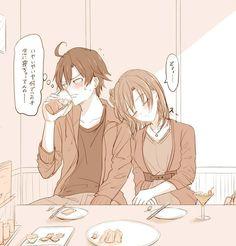 [Ponpon] Dinner with Yui Cute Couple Art, Anime Love Couple, I Love Anime, Me Me Me Anime, Anime Couples, Cute Couples, Yahari Ore No Seishun, Teen Romance, Iroha