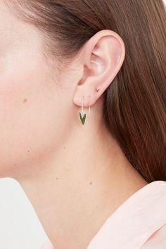 Olive Green Make-up 'Needle & Thread' Earrings Cleaning Silver Jewelry, Multiple Ear Piercings, Heart Earrings, Silver Enamel, Rose Gold Plates, Heart Shapes, Sterling Silver Jewelry, Olive Green, Hearts