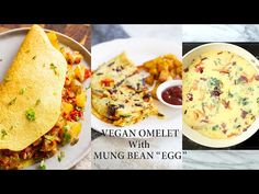 Vegan Omelet with Delicious Breakfast Potatoes. Mung Bean egg mixture makes a great soy-free egg substitute. Easy Moong Dal Batter for omelets or savory panc. Gf Recipes, Bean Recipes, Gluten Free Recipes, Why Vegan, Vegan Egg, Vegan Food, Potato Nutrition, Plant Based Breakfast, Sweet Potato Hash