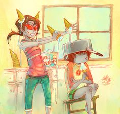 Don't be a buzzkill, Karkat by missingPantaloon<----These twoooo<======= IS NO ONE ELSE APPRECIATING THAT TEREZI-HUMAN IS JUST WEARING RED SUNGLASSES AND KARKAT-HUMAN HAS A DAVE SHIRT AND JAKE SHORTS AND A POT ON HIS HEAD!!