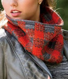 "Knitting Pattern for Trapper Cowl - Reversible double knit cowl in the classic ""lumberjack check,"" inspired by plaid flannel shirts and jackets."