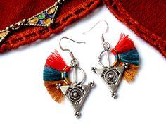 Boucles d'oreilles berbères bleu orange rouge corail