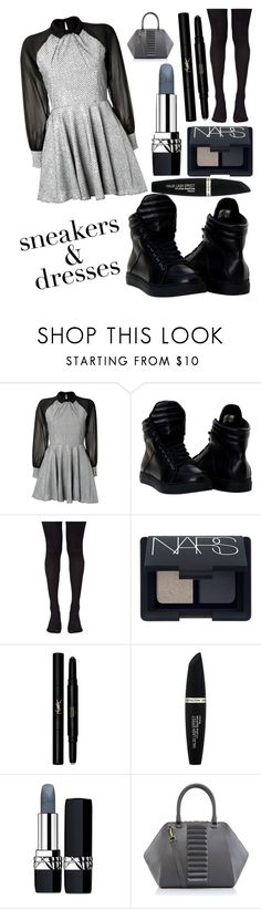 """Grey or Black"" by iheartevergreens on Polyvore featuring Paul & Joe Sister, Music Legs, NARS Cosmetics, Yves Saint Laurent, Max Factor, Christian Dior and Kristina George"