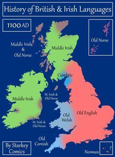 A Brief History of British and Irish Languages - Starkey Comics Uk History, History Of England, British History, European History, History Facts, Welsh English, Middle English, Trauma, Anglo Saxon Kingdoms