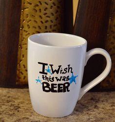Funny Coffee Mug  I Wish This Was Beer  Hand by ImJustSayinInc, $11.00