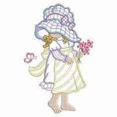 EMBROIDERED  SUNBONNET SUE QUILT BLOCKS-SET OF TEN - SET 2 #HOMECRAFTED