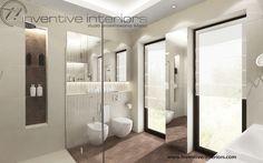 Projekt łazienki Inventive Interiors - beżowe  i brązowe płytki w dużej luksusowej łazience