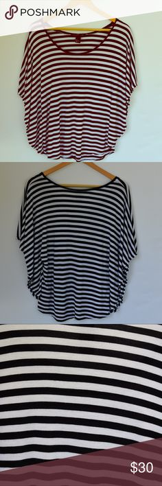 H&M black white striped batwing top S For sale is a very gently Preowned H&M black & white striped batwing top.  Size Small.  Loose fitting.  Can be dressed up or down!  Only sign of wear is some very very slight piling/fuzzies on the shirt.  100% rayon and super comfy.  Open to offers or save with bundling.  Thanks for looking! H&M Tops