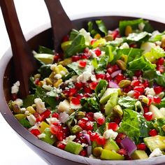 Pomegranate, Pear & Avocado Salad -- fresh, tasty, and tossed with a delicious citrus vinaigrette