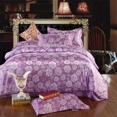 Helena Purple Jacquard Damask Luxury Bedding Damask Bedding, Comforter Sets, Luxury Bedding, Purple Fashion, Jacquard Weave, Duvet Cover Sets, Comforters, Blanket, The Originals