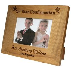 Personalised Confirmation Oak Photo Frame  from Personalised Gifts Shop - ONLY £24.95