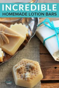This three-ingredient Lotion Bar Recipe is the best non-greasy formula for dry to normal skin. They are easy to make and can be prepared in only 10 minutes! #diygifts #organicbeauty #lotionbars #organicskincare #diybeauty #giftideas