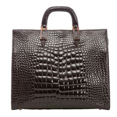 Lana Marks Chocolate Brown Alligator Tote | See more vintage Tote Bags at https://www.1stdibs.com/fashion/handbags-purses-bags/tote-bags in 1stdibs
