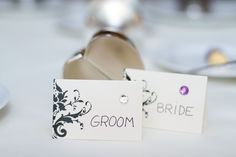 Love the rhinestones as meal indicators! Photo by Anna B. #weddings #MinnesotaWeddingPlanners