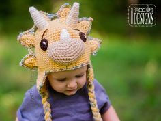 PDF Crochet Pattern for making a cute Triceratops DIno Hat by IraRott Inc.