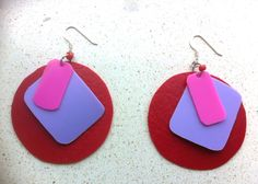 JB upcycled plastic earrings by RecycleSister on Etsy