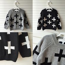 Nununu Full Cross In Boys Girl  Clothing Knitted Children Sweater Kids Shrugs Cothes Pullover Cotton Age 1-5Years Cicishop(China (Mainland))