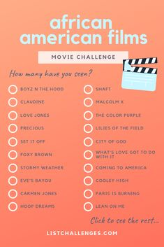 100 Must-See African-American Films ~ Movie Challenge. How many have you seen? Topping this list are Boyz N the Hood, … Netflix Movies To Watch, Movie To Watch List, Disney Movies To Watch, Movie List, Netflix Series, Foxy Brown, African American Movies, African American Artwork, Movies And Series
