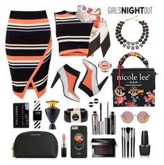 """Stripes & Florals: Girls Night Out!"" by esch103 ❤ liked on Polyvore featuring beauty, Ted Baker, Kenzo, Gucci, Kate Spade, Casetify, Chanel, MICHAEL Michael Kors, MAC Cosmetics and OPI"
