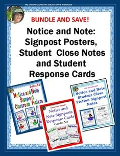 Product Description:BRAND NEW! This is a BUNDLE of three of my most versatile Notice and Note products:* Color Notice and Notes Posters* Student Close Notes (correlate with the posters)* Student Signpost Response CardsThe Notice and Note Signpost Black and White Poster set contains 6 originalreading strategies posters PLUS 6 a matching close note worksheets for each signpost.
